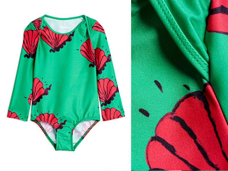 [mini rodini]Shell overlap ls swimsuit-Green