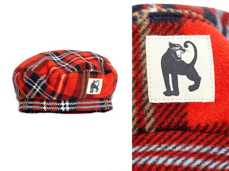 [mini rodini]Fleece check beret-Red