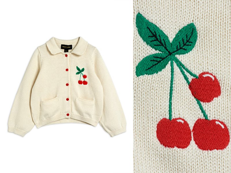 [mini rodini]Cherry cardigan	-Offwhite