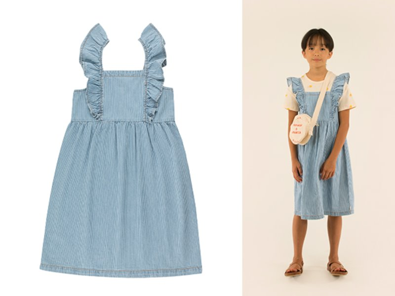 [tinycottons]STRIPED DENIM FRILLS DRESS-stripes denim