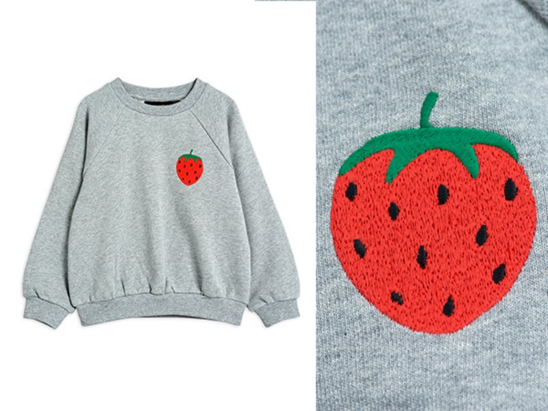 [mini rodini]Strawberry emb sweatshirt-Grey melange