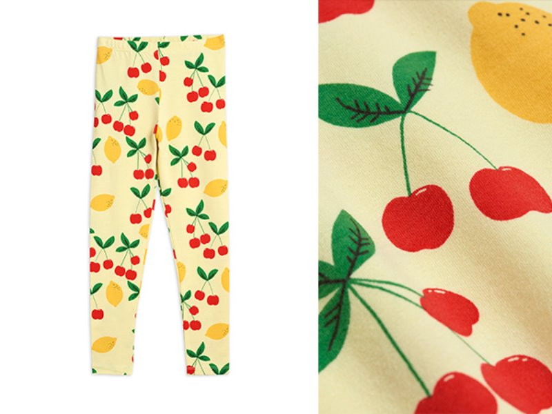 [mini rodini]Cherry lemonade aop leggings-Yellow