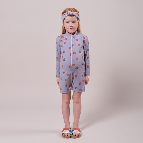 [bobochoses]-KID Chocolate Flowers All Over Swim Playsuit - Lavender Aura