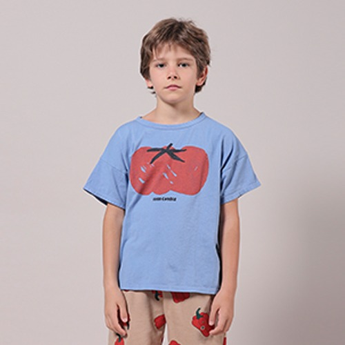 [bobochoses]-KID Tomato Short Sleeve T-Shirt - Powder Blue