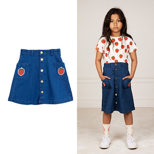 [mini rodini] Denim strawberry skirt - Blue