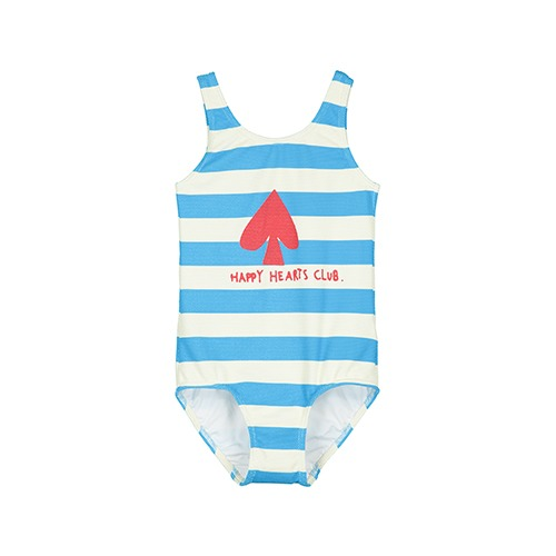 [beauloves] Blue Stripe Happy Hearts Club Swim Suit