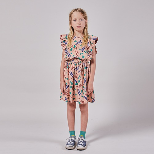 [bobochoses]-KID Strokes All Over Ruffle Dress - Lavender Aura