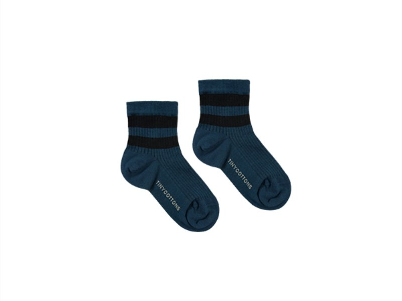 ***60%***[tinycottons]STRIPES QUARTER RIB SOCKS-true navy/black