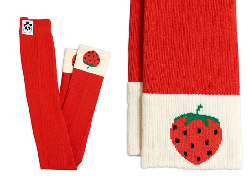 [mini rodini]Ribbed strawberry leggings-Red
