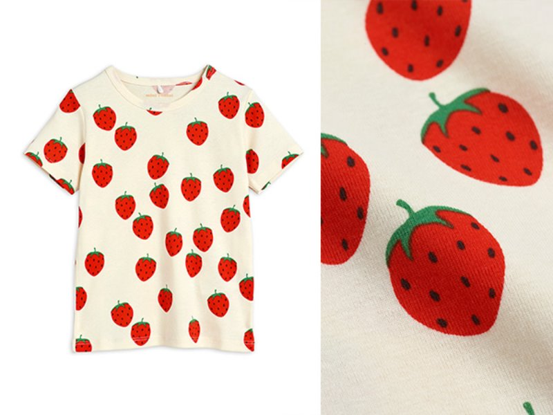 [mini rodini]Strawberry aop ss tee-Offwhite