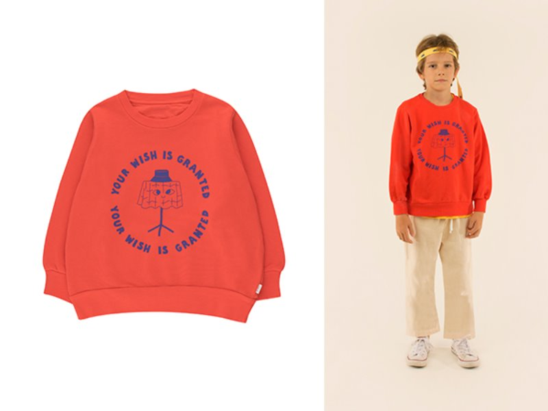 [tinycottons] WISHING TABLE SWEATSHIRT - red/iris blue
