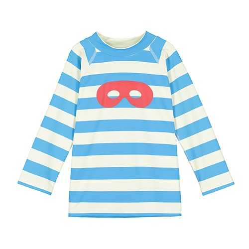 [beauloves] Blue Stripe Hero Mask Long Sleeve Swim Top