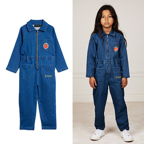 [mini rodini] Denim strawberry onesie - Blue
