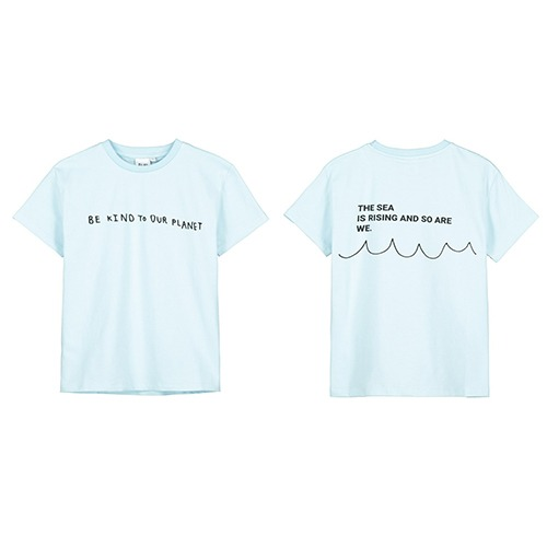 [beauloves] Sky	Blue Be Kind To Our Planet T-Shirt