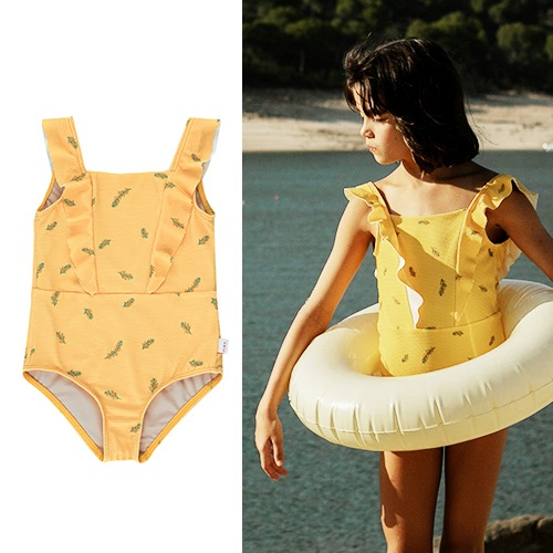 [tinycottons] TWIGS FRILLS SWIMSUIT - yellow/green