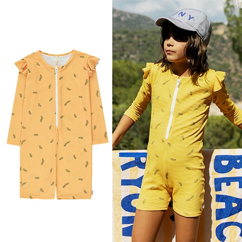 [tinycottons] TWIGS SWIM LS ONE-PIECE - yellow/green