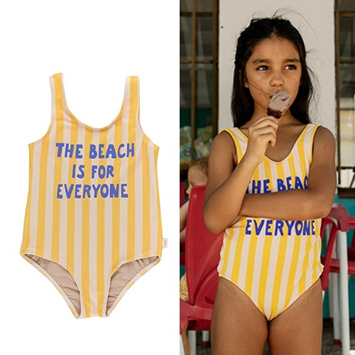 [tinycottons] THE BEACH IS FOR EVERYONE SWIMSUIT - yellow/light cream
